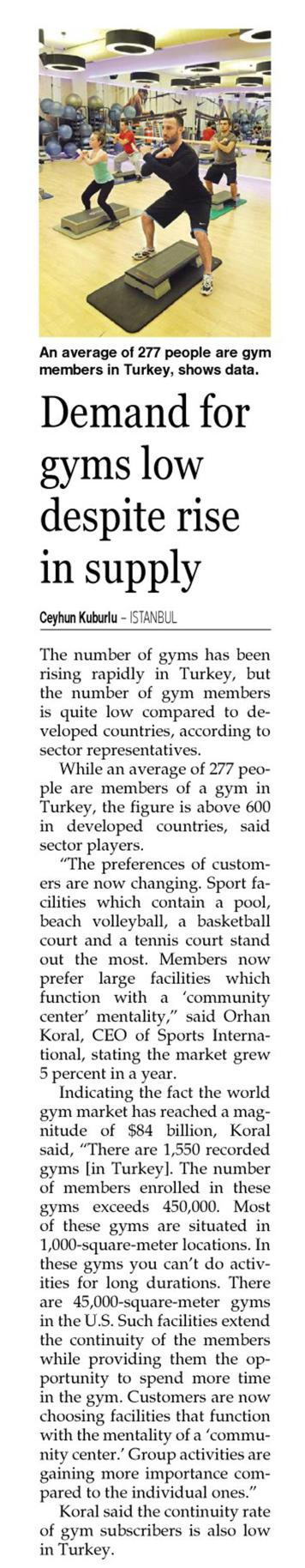 Demand for gyms low despite rise in supply